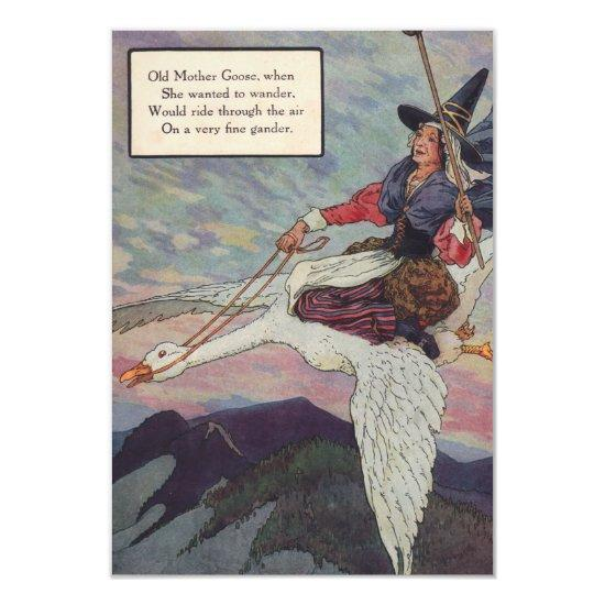 1920s mother goose riding her giant goose invitations baby shower 1920s mother goose riding her giant goose invitations filmwisefo