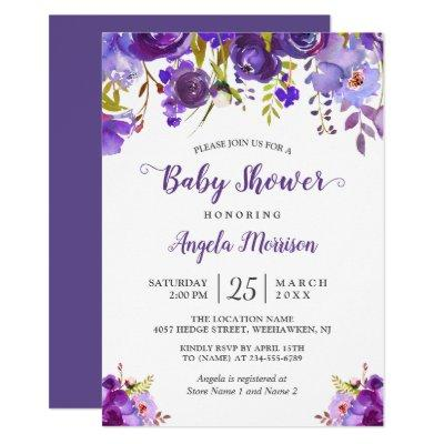 2018 Trendy Ultra Violet Purple Floral Baby Shower Invitations
