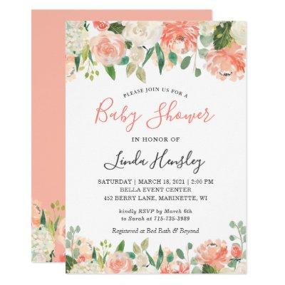 2019 Trend Coral and Peach Floral Baby Shower Invitation