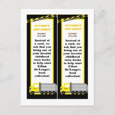 2 Book Marks Construction Invitations Postcard