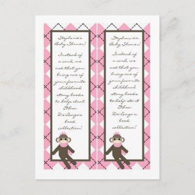 2 Book Marks Pink Sock Monkey Argyle Invitation Postcard