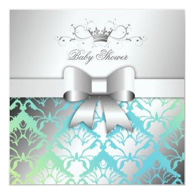 311-Damask Shimmer Bow Turquoise Lime Baby Shower Invitation