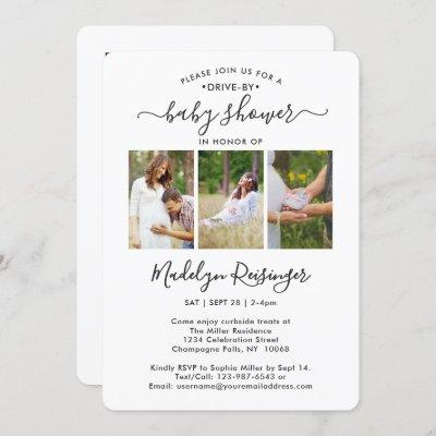 4 Photo Drive-By Social Distancing Baby Shower Invitation