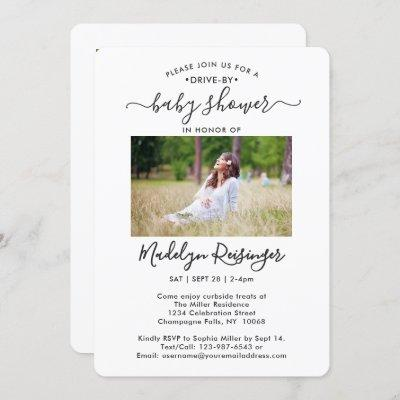 5 Photo Drive-By Social Distancing Baby Shower Invitation