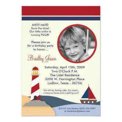 Ahoy Mate Sail Boat Birthday Party Invitation