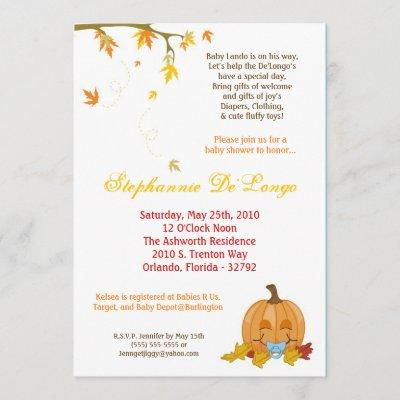 Autumn Fall Leaves Boy Baby Shower Invitation