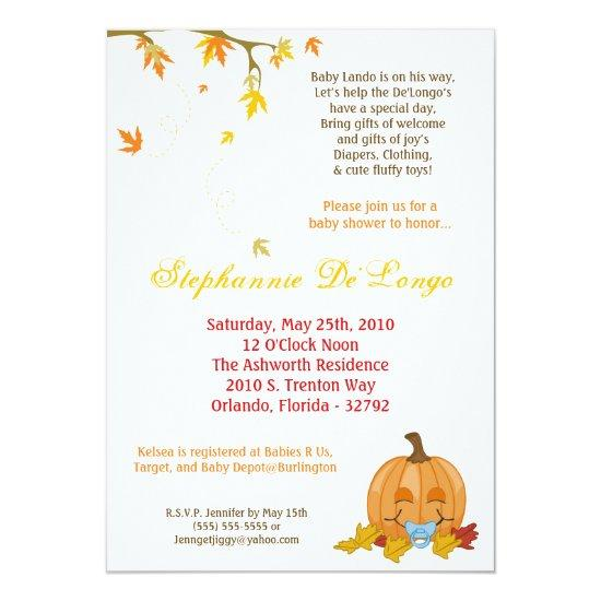 Autumn Fall Leaves Boy Baby Shower Invitation