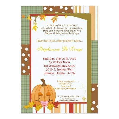 Autumn Fall Pumpkin Baby Shower Invitation