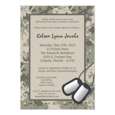 Army baby shower invitations baby shower invitations baby shower army camo acu print filmwisefo Gallery