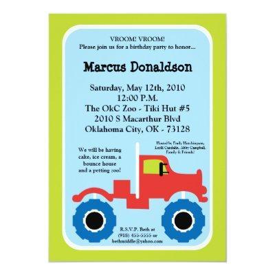Boy Monster Truck Birthday Party Invitation