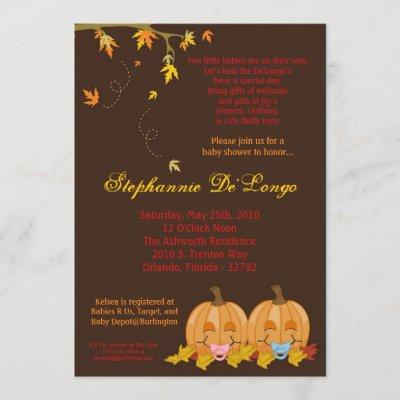 Fall Leaves TWIN TWINS Baby Shower Invitation