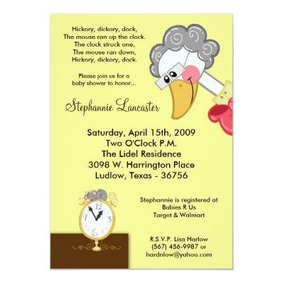 1920s mother goose riding her giant goose invitations baby shower mother goose nursery rhyme hickory dickory nursery filmwisefo