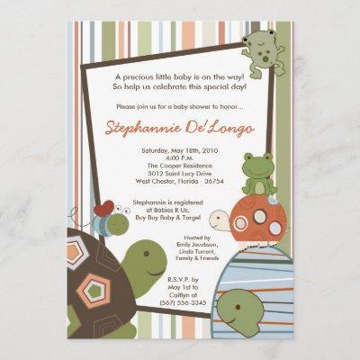 Laguna Turtle Frog Bee Baby Shower Invitation