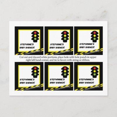 6 Favor Tags Construction Invitations Postcard
