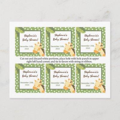 6 Favor Tags Safari Jungle Giraffe Green Invitation Postcard