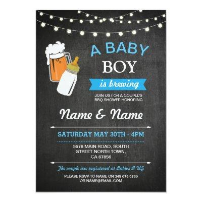 A Baby Boy Brewing Shower Beers Blue Chalk Invite