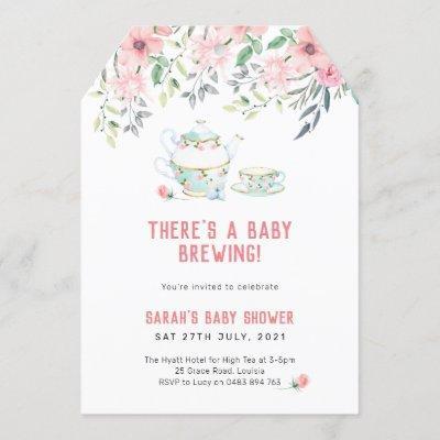 A baby brewing Invitation, high tea baby shower Invitation