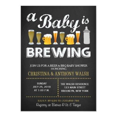 A Baby is Brewing Baby Shower Chalk BBQ Invitations