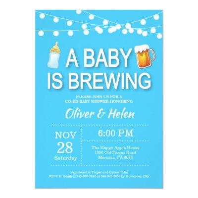 A baby is brewing Boy Baby Shower Invitation Blue