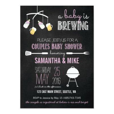 A Baby is Brewing Couples Baby Shower Invitations