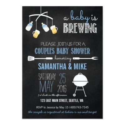 A Baby is Brewing Couples Invitations