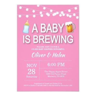 A baby is brewing Girl Baby Shower Invitation Pink
