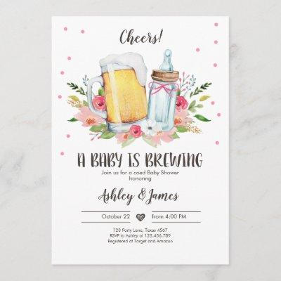 A Baby is Brewing Girl Cheers Coed Baby Shower Invitation