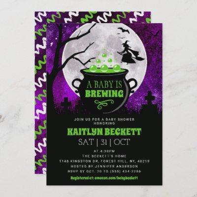 A Baby Is Brewing Halloween Baby Shower Invitation
