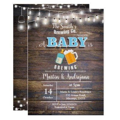 A baby is brewing invitation Boy BaByQ invitation