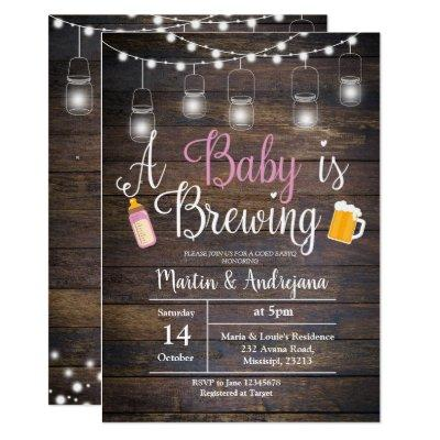A baby is brewing Invitations Girl pink Invitations