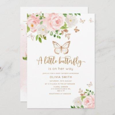 A little butterfly is on her way blush gold invitation