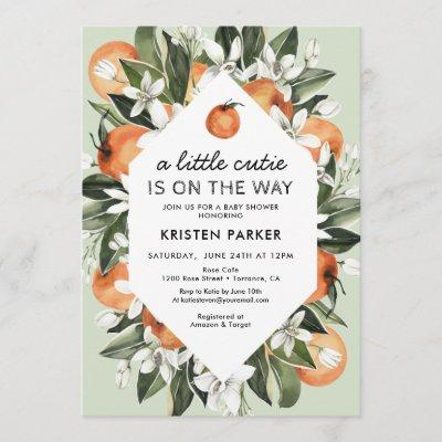 A Little Cutie is on the Way Citrus Baby Shower Invitation