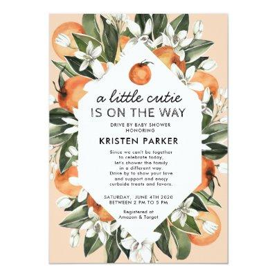 A Little Cutie is on the Way Drive By Baby Shower Invitation