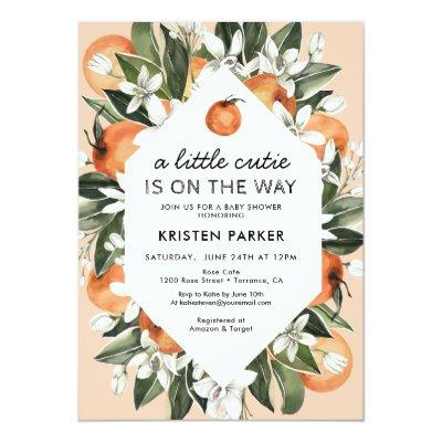 A Little Cutie is on the Way Orange Baby Shower Invitation