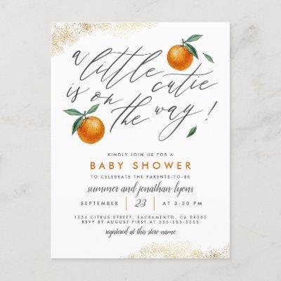 A Little Cutie Is On The Way Orange Baby Shower Invitation Postcard