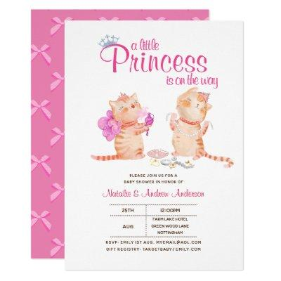 A Little Princess Is On The Way Cute Cat Kittens Invitation