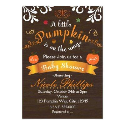 A LITTLE PUMPKIN Autumn BABY SHOWER Invitation