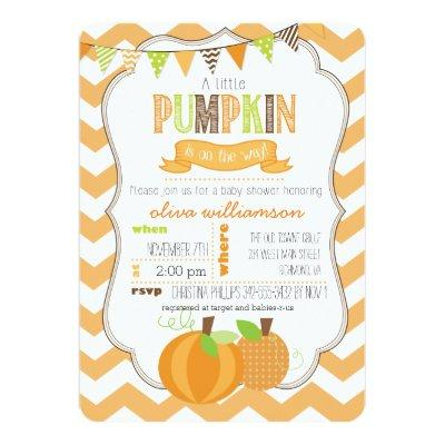 A Little Pumpkin Baby Shower Invitations