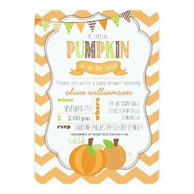 A Little Pumpkin Baby Shower Invitations