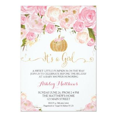 A little Pumpkin Pink & Gold Glitter Invitations