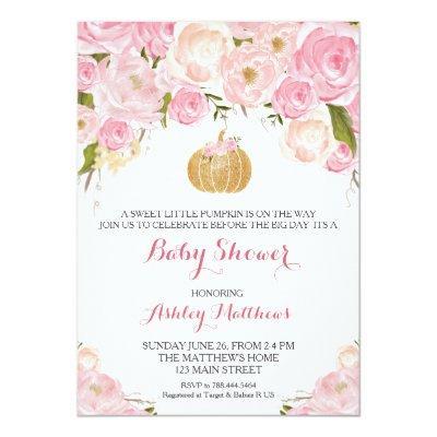 A little Pumpkin Baby Shower Pink & Gold Glitter Invitation