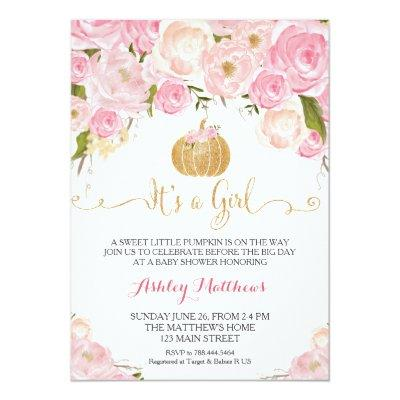 A little Pumpkin Baby Shower Pink & Gold Glitter Invitations