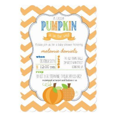 A Little Pumpkin Boy Baby Shower Invitations