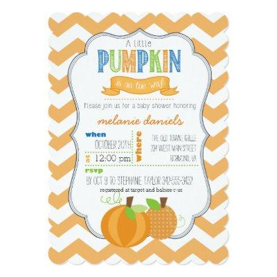 A Little Pumpkin Boy Baby Shower Invitation