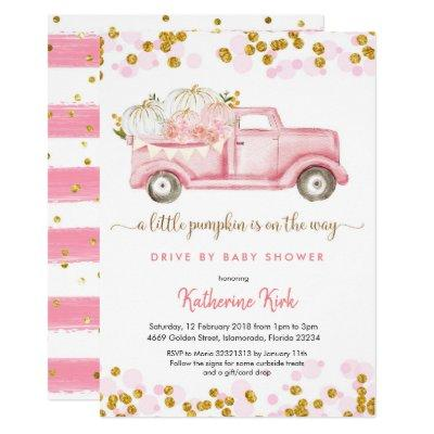 A little pumpkin drive by girl baby shower invitation