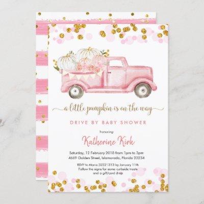 A little pumpkin drive by girl baby shower invitation