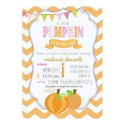 A Little Pumpkin Girl Baby Shower Invitations