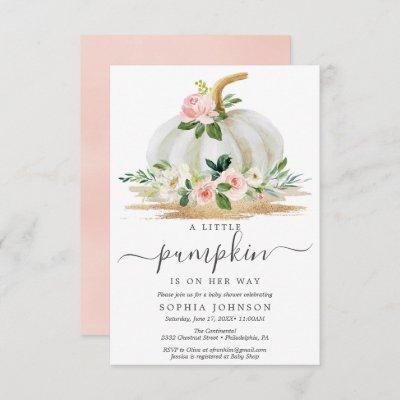 A Little Pumpkin Girl Baby Shower Invitation Card