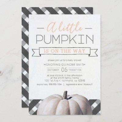 A Little Pumpkin is on the Way Buffalo Check Fall Invitation