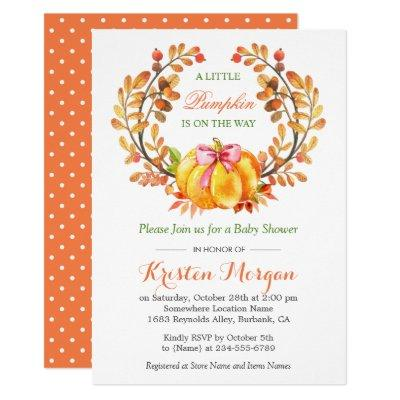 A Little Pumpkin Is On The Way Fall Baby Shower Invitations